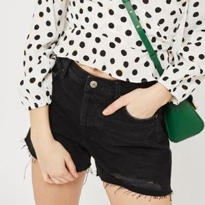 NEW Topshop Moto Ashely Distressed Shorts In Black